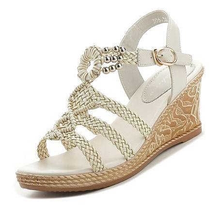 mssefn2016 波西米亚 编织 坡跟 女生凉鞋