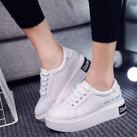 mssefn春夏小白鞋女厚底系带韩版潮板鞋松糕鞋百搭球鞋休闲鞋