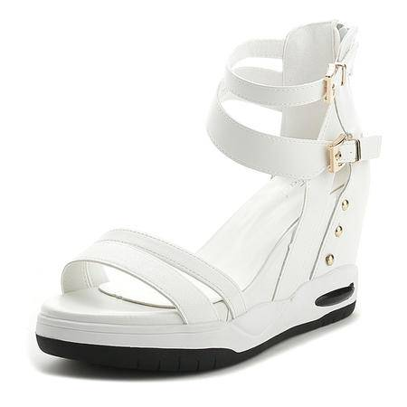 mssefn真皮 内增高 5.5CM 坡跟  女凉鞋