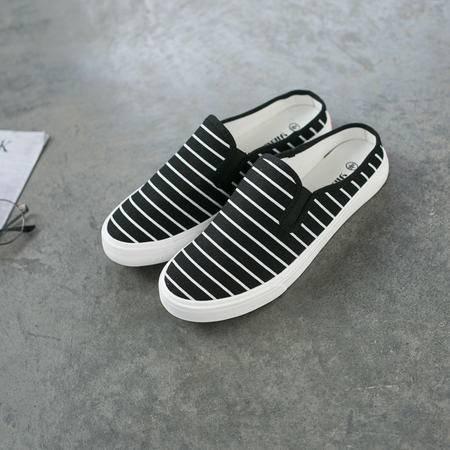 mssefn2016男士新款休闲条纹帆布鞋一脚蹬拖鞋简约时尚男鞋