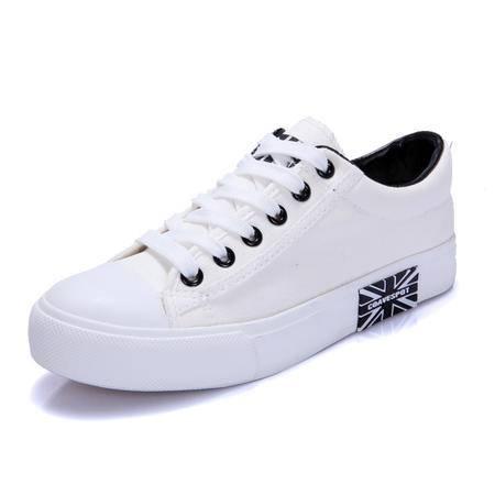 mssefn韩版潮米字旗学生布鞋透气男帆布鞋小白鞋
