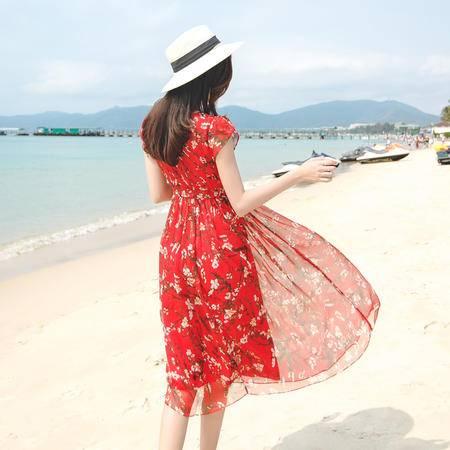 mssefn波西米亚沙滩裙碎花系带包袖修身优雅雪纺连衣裙