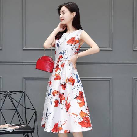 mssefn印花无袖2016年夏季套头高腰圆领花色连衣裙