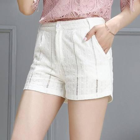 mssefn2016夏季韩版新品修身短裤女镂空气质百搭女裤子