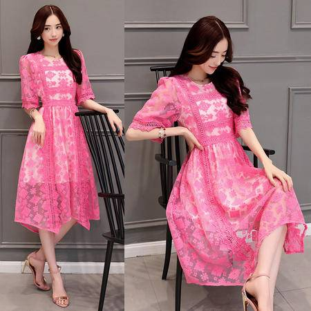 mssefn2016夏季新品甜美绣花修身不规则中长裙气质优雅公主裙