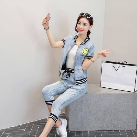 mssefn2016夏季女装新款牛仔外套 牛仔七分裤两件套时尚套装