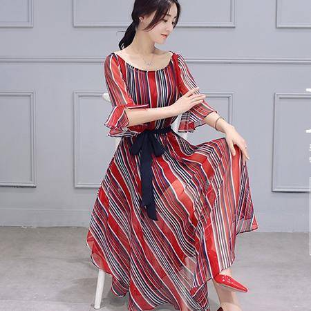 mssefn2016夏季新品花边袖淑女修身条纹雪纺连衣裙气质不规则裙