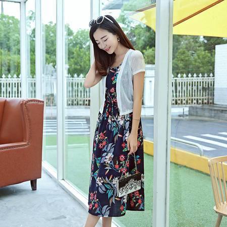 mssefn波西米亚沙滩裙清新素雅无袖连衣裙短款小外套时尚套裙