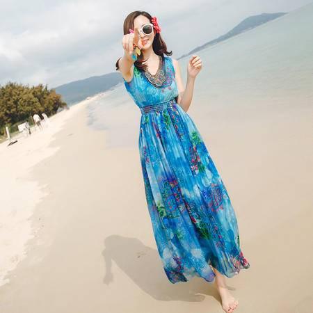 mssefn波西米亚沙滩裙高腰显瘦重工串珠V领优雅雪纺连衣裙长裙