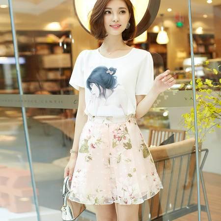 mssefn2016印花圆领短袖夏季新款潮流韩版修身显瘦连衣裙