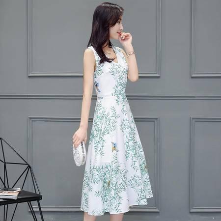 mssefn花色V领套头高腰单件A字裙2016年夏季无袖中长款印花连衣裙