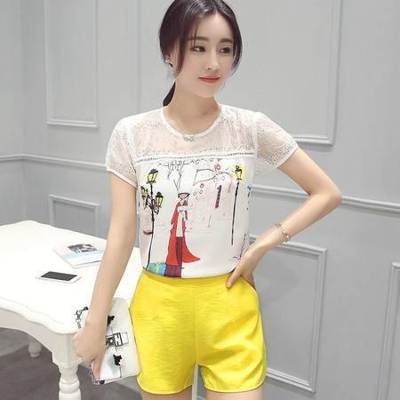 2016夏季女装新款印花短袖上衣 短裤两件套气质时尚套装