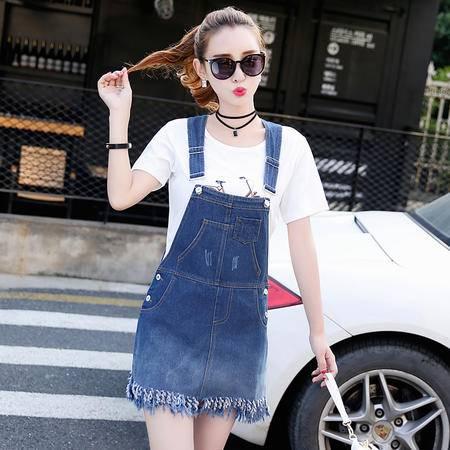 mssefn通勤短裙背带做旧立体装饰拼接口袋牛仔裤2016年夏季