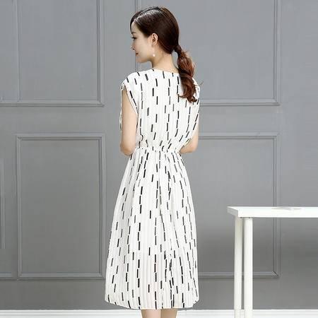 mssefn夏季韩版新品过肩袖宽松显瘦印花休闲通勤雪纺连衣裙潮