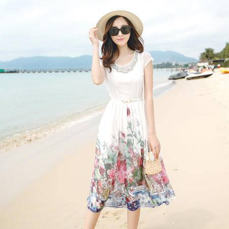 mssefn波西米亚沙滩裙镶钻圆领贝壳袖修身优雅印花雪纺连衣裙