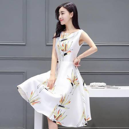 mssefn圆领高腰套头单件A字裙2016年夏季无袖中长款印花连衣裙