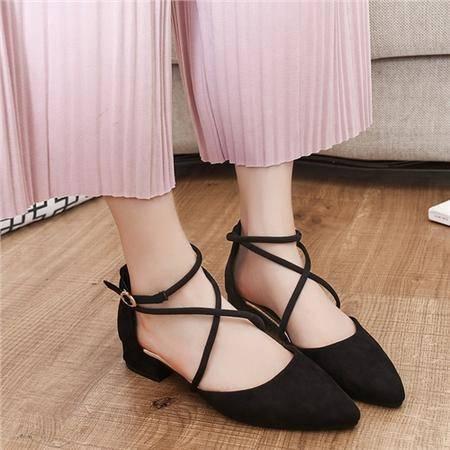 MSSEFN  粗跟凉鞋女2016新款中跟女士一字带扣女鞋韩版潮百搭鞋子