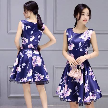 MSSEFN 2016夏季女装新款时尚圆领无袖气质淑女修身印花连衣裙