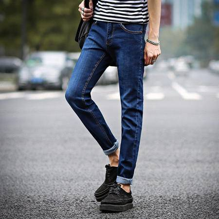 MSSEFN 男士青年韩版修身款裤子春夏季青少年薄款牛仔裤