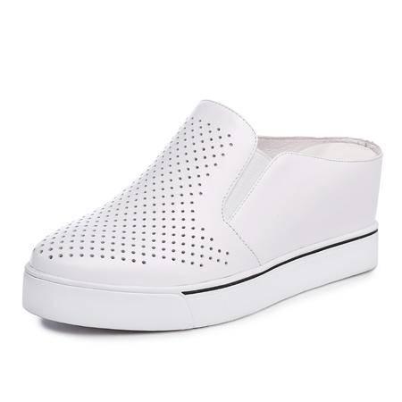mssefn高端 精制 真皮 内增高 坡跟 女凉拖鞋