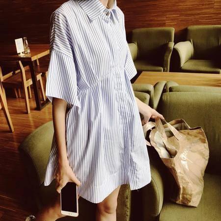 MSSEFN 2016韩版小清新条纹衬衫连衣裙开衩袖裙子