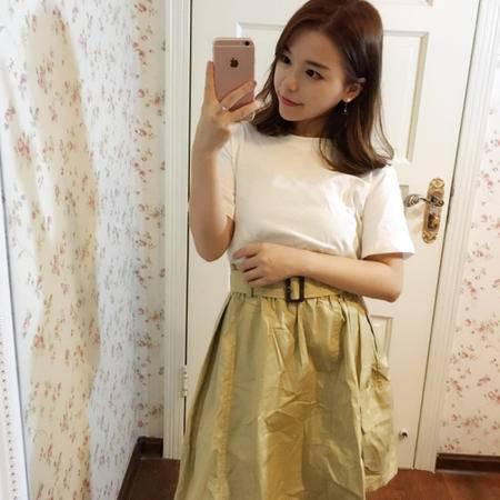MSSEFN 2016夏装韩版新款圆领宽松后背网纱中长款短袖T恤上衣女