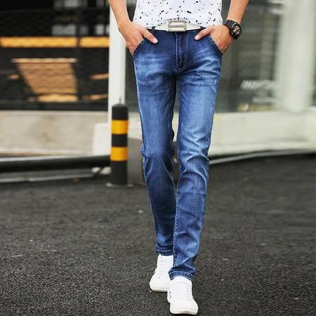 mssefn男士牛仔裤男韩版男装夏装裤子潮小脚裤修身青少年