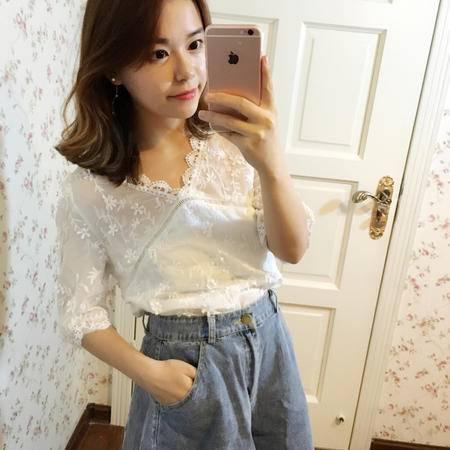 MSSEFN 2016新款韩版宽松显瘦蕾丝打底衫上衣V领短袖气质雪纺衫