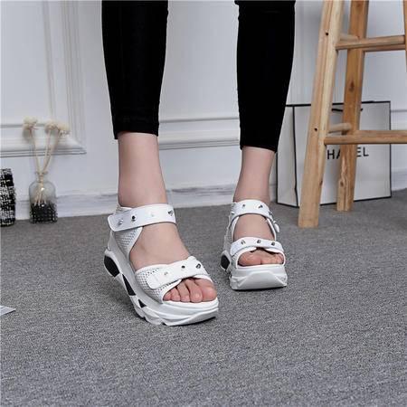 MSSEFN 2016新款牛皮百搭松糕厚底凉鞋 真皮中跟坡跟休闲凉鞋女