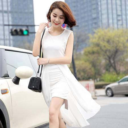 MSSEFN 2016夏季圆领无袖纯色蕾丝镂空透明高腰套头连衣裙