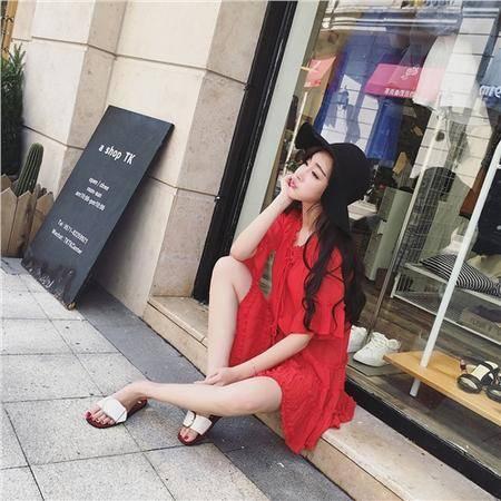 mssefn韩版荷叶袖气质百褶连衣裙