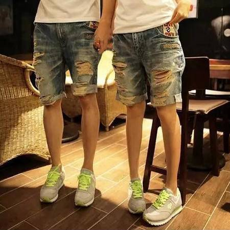 MSSEFN 夏男士牛仔短裤男纯色韩版侣裤夏装五分热裤