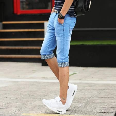 MSSEFN 青少年男士牛仔裤男韩版男装夏装裤子五分裤子七分裤 短裤
