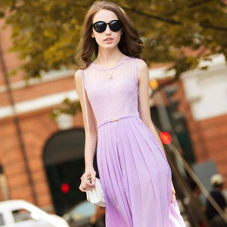 MSSEFN 新款2016圆领无袖收腰修身宽松中长裙夏季连衣裙