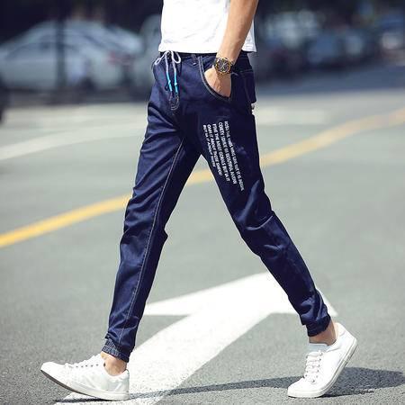 MSSEFN 2016夏季新款韩版男装修身束脚裤男士松紧带牛仔裤