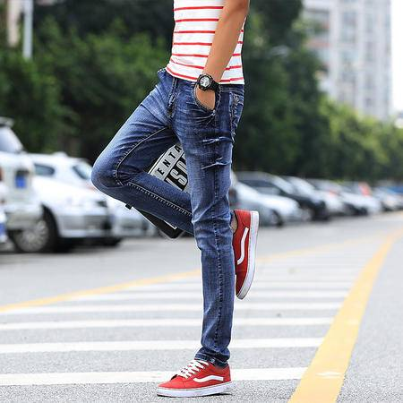 MSSEFN 男士牛仔裤男韩版男装夏装裤子潮小脚裤修身青少年