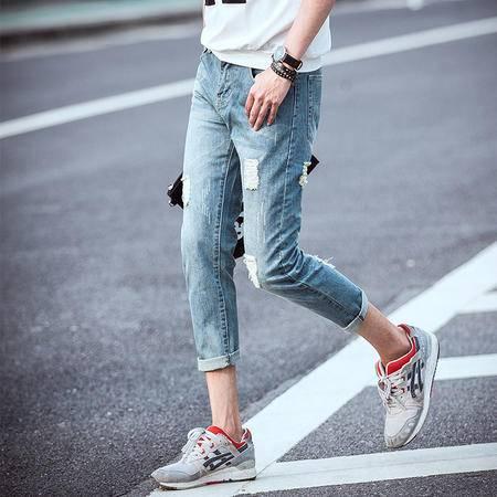 MSSEFN 夏季新款男小脚破洞牛仔裤 男潮韩版九分裤日系