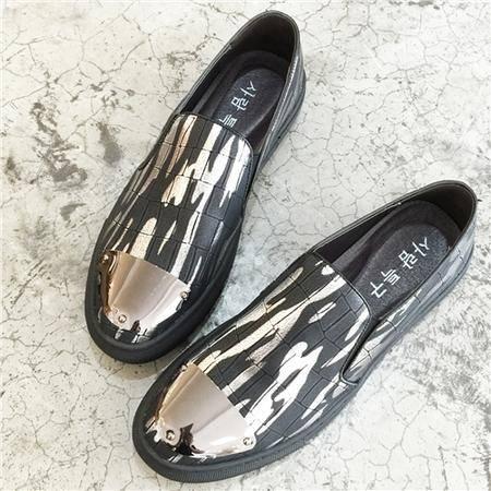 MSSEFN 夏季真皮乐福休闲男鞋套脚懒人板鞋一脚蹬发型师韩版低帮