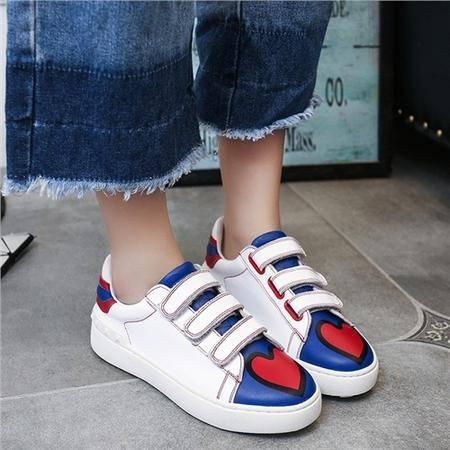 MSSEFN 2016夏季新款韩版魔术贴平底小白鞋拼色板鞋运动休闲鞋