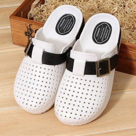 MSSEFN 新款糖果色包头男式休闲凉拖鞋夏季透气洞洞鞋沙滩鞋