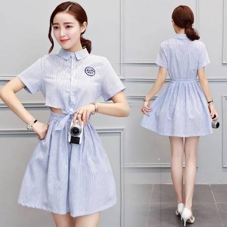 MSSEFN  纯色圆领夏季新款潮流韩版修身显瘦短袖POLO领连衣裙