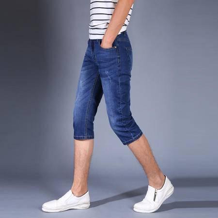 MSSEFN 新款 牛仔裤男薄 7分牛仔裤高弹牛仔裤男士夏