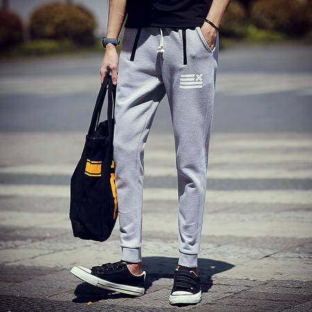 MSSEFN 2016秋冬新款潮男时尚大码印花针织束脚休闲裤卫裤运动裤