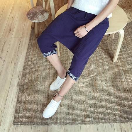 MSSEFN 中国风 棉麻七分裤 花边低裆跨裤哈伦裤