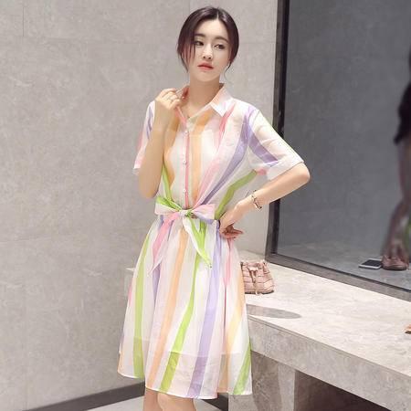 MSSEFN 2016夏季韩版新款女装翻领短袖条纹修身套头连衣裙