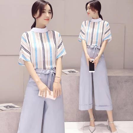 MSSEFN 2016夏季女装新款中袖条纹上衣 阔腿裤两件套时尚套装