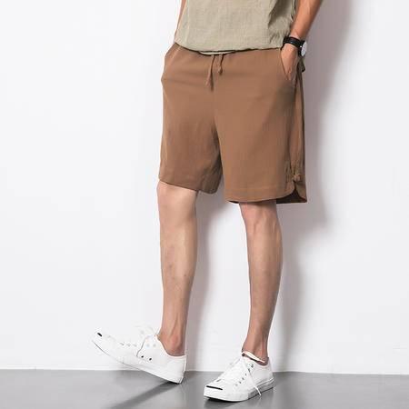 MSSEFN 中国风盘扣设计 棉麻5分裤 沙滩裤 短裤 宽松