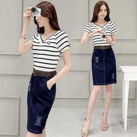 MSSEFN 2016夏季新款女装韩版时尚条纹修身T恤牛仔包臀裙两件套