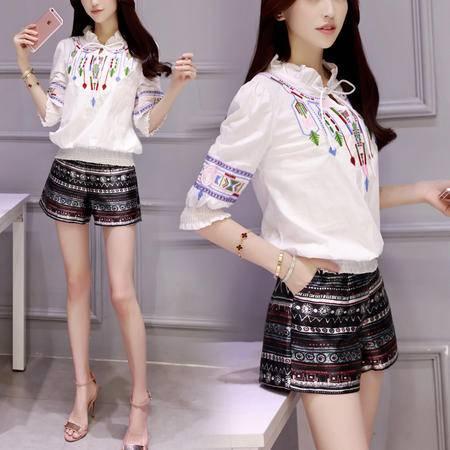 MSSEFN 2016夏女装新款花边领绣花上衣 印花短裤两件套时尚套装
