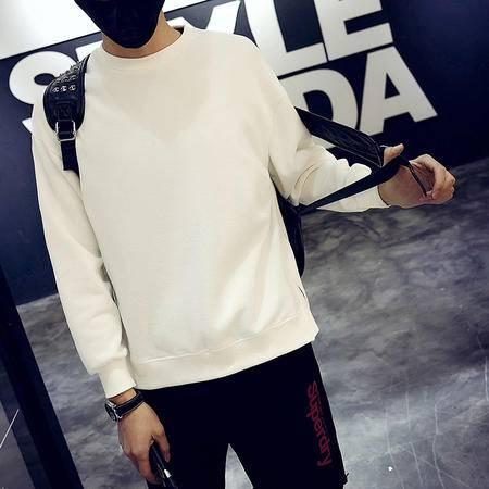 MSSEFN 2016秋冬新款韩版潮男纯色经典时尚长袖卫衣T恤